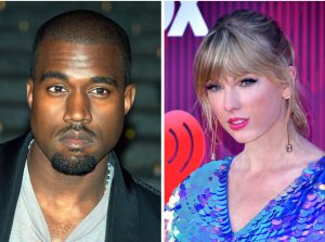 Kanye West at the 2009 Tribeca Film Festival and Taylor Swift at the 2019 iHeart Radio Awards. Both have recently spoken against industry contracts/ David Shankbone and Glenn Francis, respectively