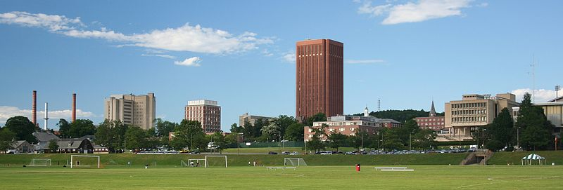 The University of Massachusetts Amherst Skyline from South Field/ Wikimedia Commons user Eraboin