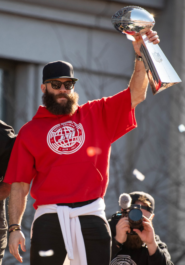Edelman at the Patriot's post Super Bowl victory parade on Feb. 5, 2019/ Paul W.