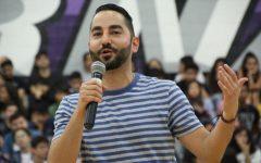 Sev Ohanian speaking at Herbert Hoover High School in 2018 (Photo Credit: Aaron Facundo)
