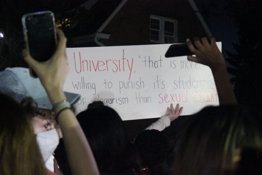 A+sign+that+reads%2C+A+university+that+is+more+willing+to+punish+students+for+plagiarism+than+sexual+assault%2C+at+Sunday+Nights+protest.